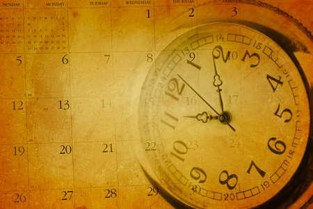 Vintage grunge clock face and calendar