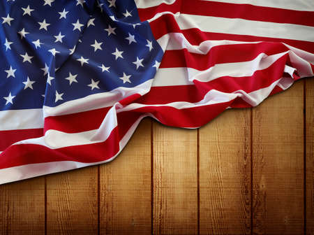 American flag and wooden boards