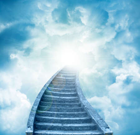 Stairs leading up to sky. Stairway to heaven Archivio Fotografico