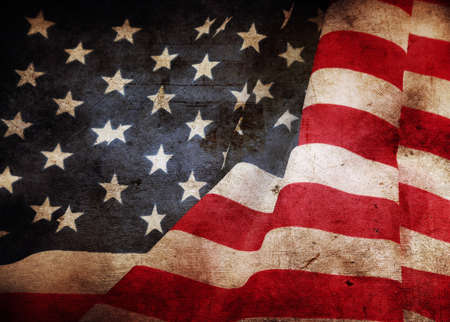 Closeup of grunge American flag Foto de archivo