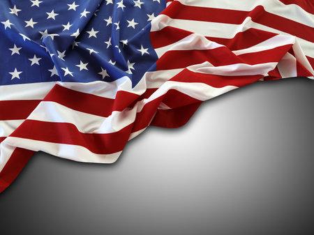 American flag on grey background Foto de archivo