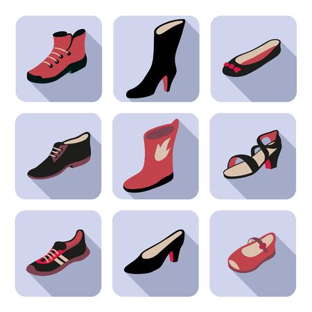 men s boot: Flat icons set with different types of womens, mens, childrens and unisex shoes