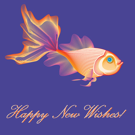 Goldfish symbolizing wealth and good luck. For letters of congratulations and greetings cards