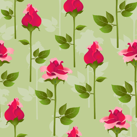 sepals: Seamless pattern from roses on a pale green background