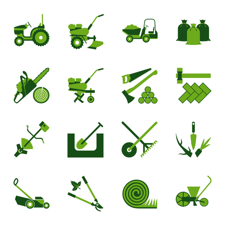 Icon set for gardening and agricultural work
