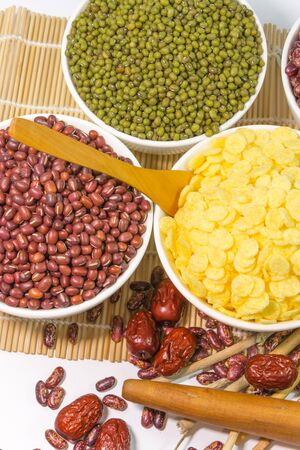 red gram: cornflakes, red bean  and green gram Stock Photo