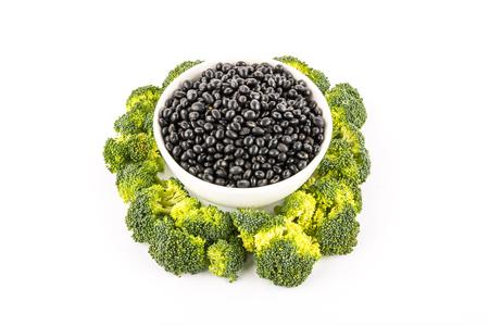 soya bean: broccoli  and black soya bean