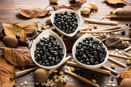soya bean: black soya bean Black bean Black Beans Black soybean Black Soybeans Stock Photo