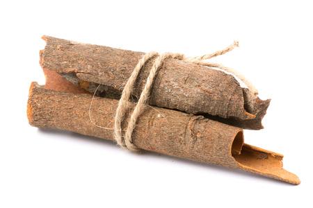 christmas scent: Cinnamon sticks on white background