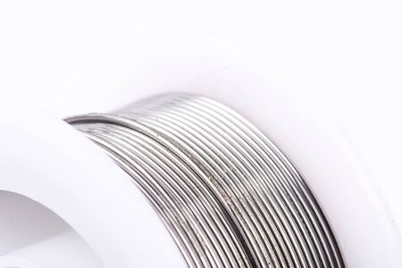 bendable: Soldering tin on a white background. Stock Photo