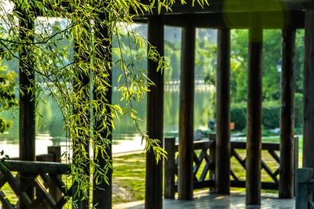 gloriette: aiwan pavilion in changsha,Mao write the word Stock Photo