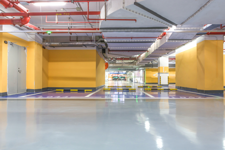 parking garage: Parking garage underground interior Editorial