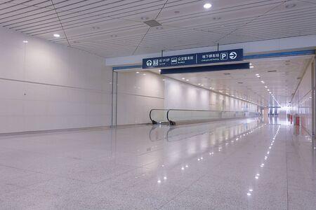 celerity: Bluish corridor in a subway Stock Photo