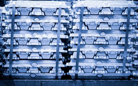 silver bullion: Stack of raw Aluminium Ingot on outdoor warehouse