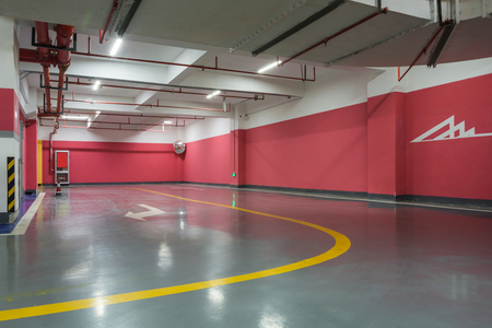Empty parking lot wall. Urban, industrial background. Standard-Bild