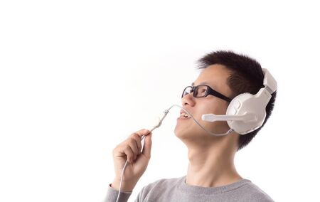 Yound man talk with somebody Stock Photo