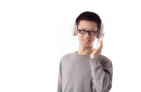 conversing: Yound man talk with somebody Stock Photo