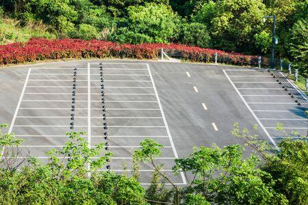 Empty Parking Lot ,Parking lane outdoor in public park Stock Photo
