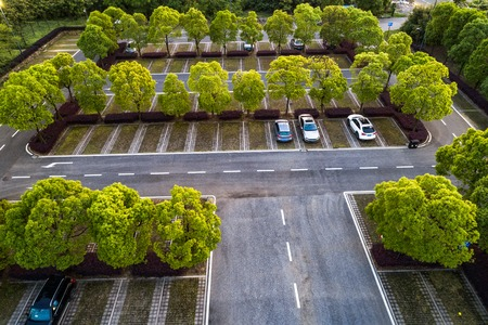 Aerial view of a parking lot 스톡 콘텐츠