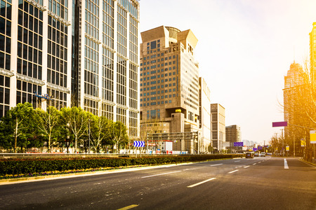 Empty road at building exterior