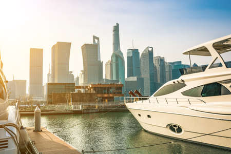 Pudong is a district of Shanghai, located east of the Huangpu River. Stock Photo