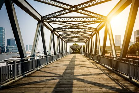 Located in Shanghai, one hundred years ago, the steel bridge. Editorial