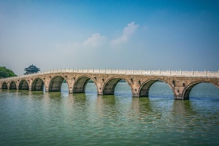 Old bridge in Chinese park Stok Fotoğraf