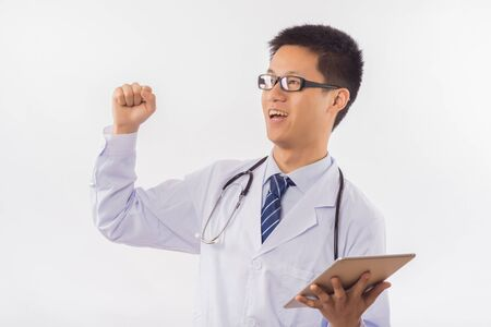 chinese male doctor with stethoscope