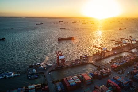 shanghai container terminal in twilight ablaze