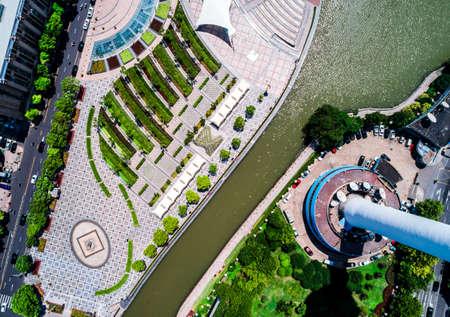 top view public square Stock Photo