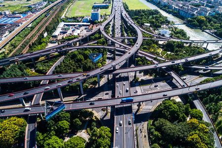 Aerial View of Busy Highway Junction. Editorial