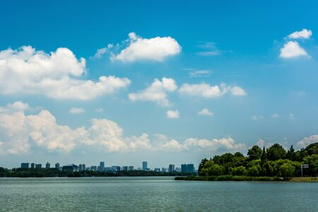 lake view in sunny day Stock Photo