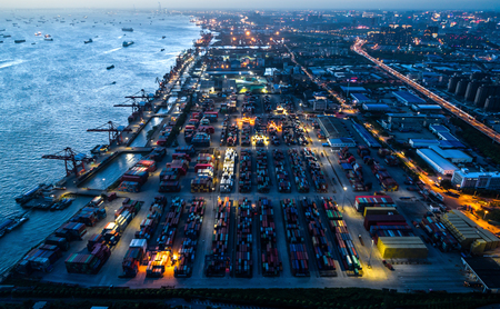 shanghai container terminal landscape at night
