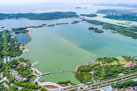 aerial view of park lake