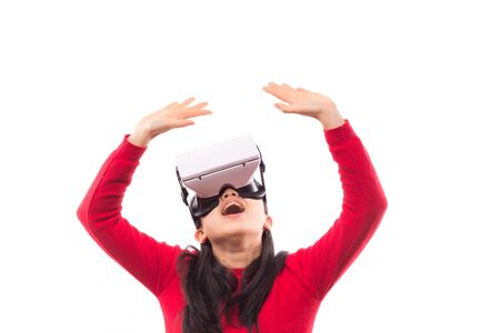 woman wearing virtual reality goggles isolated on white background