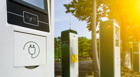Electric vehicle charging station.