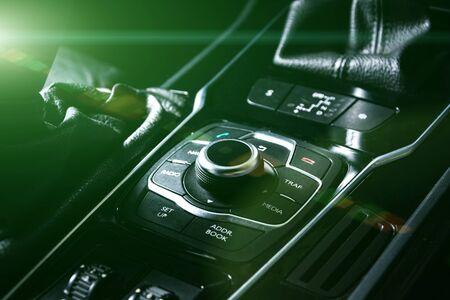 スポーツカーダッシュボードインテリア 写真素材