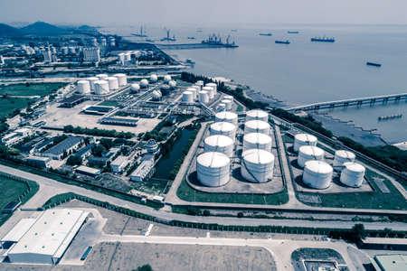 Oil Silos At Petroleum Refinery