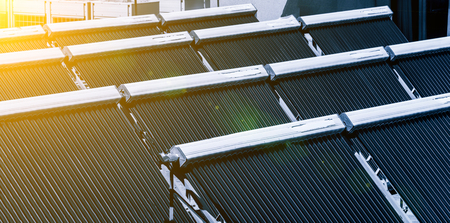 Solar water heater on roof Stockfoto