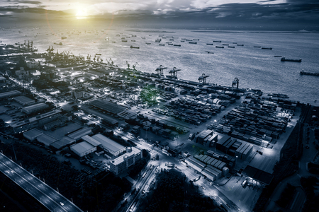 shanghai container terminal at nightfall 写真素材
