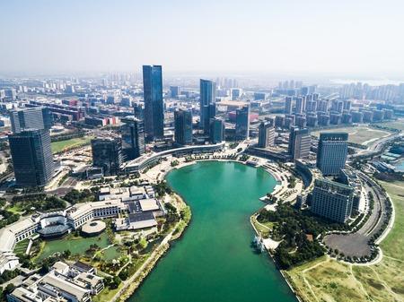 Suzhou City, Dushuhu province China Dushu lake cityscape Фото со стока