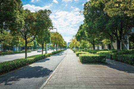 The century avenue of street scene in shanghai Lujiazui,China.