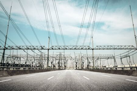 Substation equipment and dense lines, blue tone map.