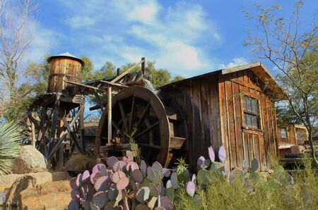 western town: Old Western Town Water Mill Stock Photo