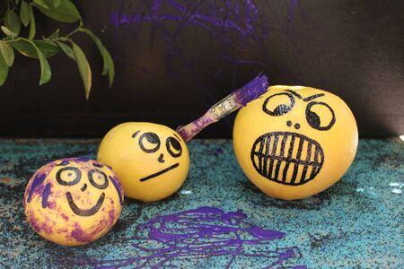 mischievous: Mischievous Purple Paintinted Grapefruit