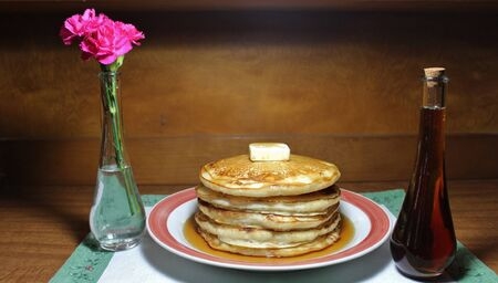 flapjacks: Fluffy Stack of Pancakes Stock Photo