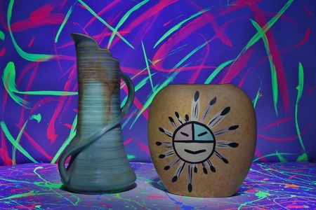 Native American Pottery with Neon Background