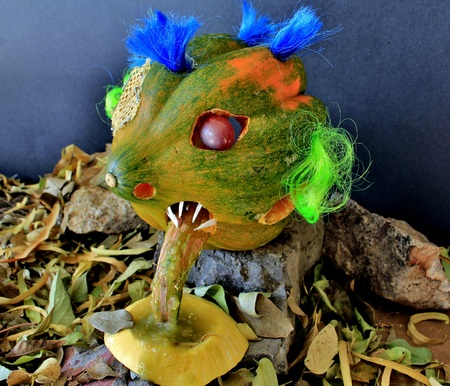 vegtables: Creative Food Photography featuring a Creepy Faced Squash Monster