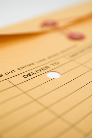 verticals: Close-up image of an interoffice delivery envelope.