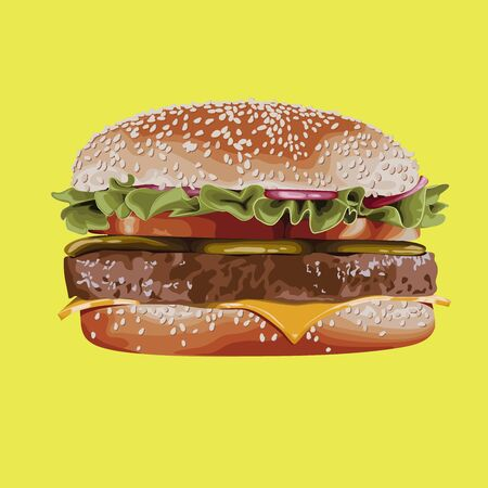 Isolated hamburger with sesame bun cutlet lettuce cheese tomatoes onion salted cucumbers Ilustración de vector